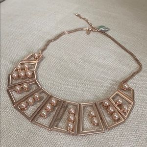 Rose gold and pearl statement necklace